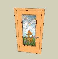 SketchUp - Дверь с витражом Бемби в детскую